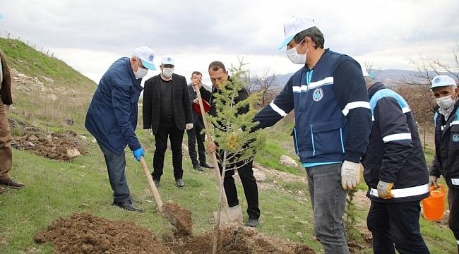 Battalgazi ilçesinde 750 fidan toprakla buluştu.